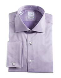 Ike By Ike Behar Regular Fit French Cuffed Herringbone Cotton Dress Shirt Purple