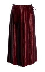 Ms Min Satin Pleated Midi Skirt Burgundy