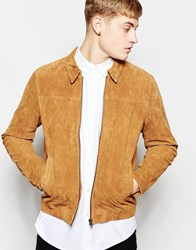New Look Suede Harrington Jacket In Camel
