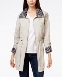 Jm Collection Petite Printed Contrast Hooded Anorak Jacket Only At Macy's Stonewall