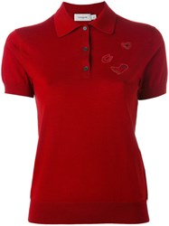 Coach Short Sleeve Polo Shirt Women Wool M Red