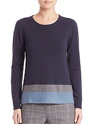 Peserico Colorblock Virgin Wool Silk And Cashmere Sweater Navy