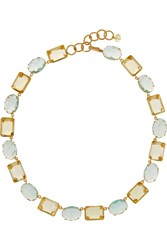 Bounkit Gold Tone Flourite And Quartz Necklace Metallic