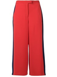 Michael Michael Kors Cropped Side Stripe Trousers Red