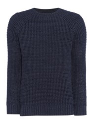 Criminal Men's Trystan Textured Crew Knit Navy