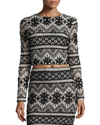Carisa Rene Garzata Long Sleeve Crop Top Black White
