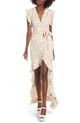 Afrm Andrea Ruffle Wrap Dress Gold