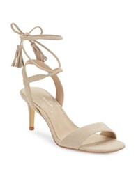 424 Fifth Giovanna Suede Sandals Cafe Latte