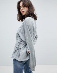 Pieces Sweatshirt With Lace Up Side Detail Light Grey