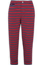Sleepy Jones Stevie Striped Cotton Pajama Pants Red