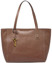 Fossil Emma Leather Tote Brown