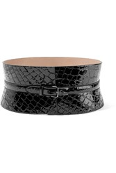 Alaia Croc Effect Leather Waist Belt Black