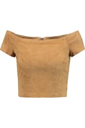Alice Olivia Gracelyn Cropped Off The Shoulder Suede Top Tan