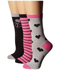 Life Is Good Valentine's Day Crew Sock 3 Pack Night Black Tropical Pink Heather Gray Women's Crew Cut Socks Shoes Multi