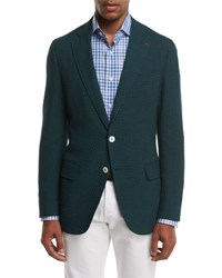 Isaia Seersucker Two Button Sport Coat Forest Green