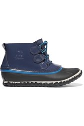 Sorel Out N About Rain Waterproof Patent Leather And Rubber Boots Navy