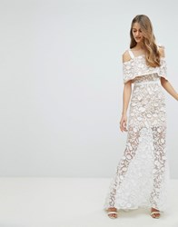 Jarlo All Over Embroidered Lace Maxi Dress With Tie Shoulder Detail White