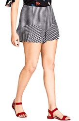 City Chic Plus Size Cute Gingham Flutter Shorts Black Check