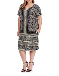 Lucky Brand Plus Printed Tee Dress Black