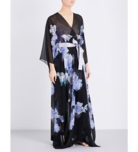 Meng Floral Print Silk Georgette Kaftan Black Purple