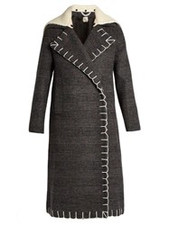 Edun Nub Double Breasted Checked Wool Coat Grey