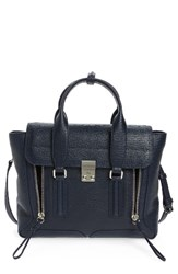 3.1 Phillip Lim 'Medium Pashli' Shark Embossed Leather Satchel Blue Ink Nickel