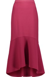 Rebecca Vallance Pleated Crepe Midi Skirt Burgundy