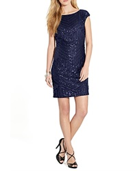 Lauren Ralph Lauren Dress Boat Neck Sequin Lighthouse Navy