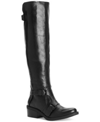 Calvin Klein Jeans Ck Jeans Geana To The Knee Riding Boots Women's Shoes Black Leather