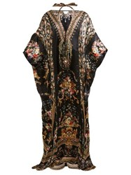 Camilla Friend In Flora Print Silk Kaftan Brown Print