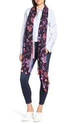 Rebecca Minkoff Hypnotic Floral Oblong Scarf Black