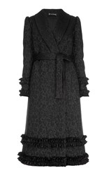 Flow The Label Belted Ruffle Trim Coat Black