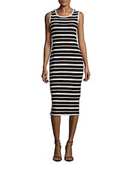 Max Studio Cotton Striped Textured Jersey Dress Black Ivory