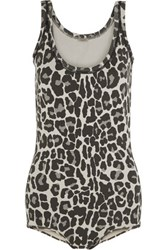 Bottega Veneta Leopard Print Cotton Blend Bodysuit Charcoal