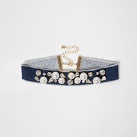 River Island Womens Blue Denim Pearl Embellished Choker