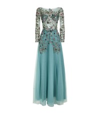 Patricia Bonaldi Floral Sequin Maxi Gown Female Blue