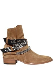 Amiri 40Mm Suede Bandana Buckle Ankle Boots Brown