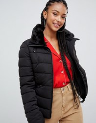 Bershka Padded Jacket With Belt Detail In Black Blue
