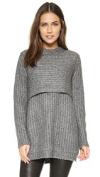 Mason By Michelle Mason Double Layer Sweater Grey