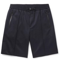 Solid Homme Stretch Wool Twill Shorts Navy
