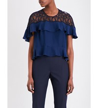 Sandro Silk Satin And Lace Top Navy Blue