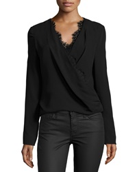 J. Mendel Long Sleeve Blouse W Lace Trim Noir