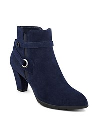 Anne Klein Chelsey Suede Ankle Boots Navy Blue