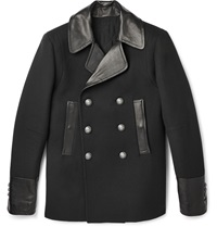 Balmain Leather Trimmed Wool And Cashmere Blend Peacoat Black