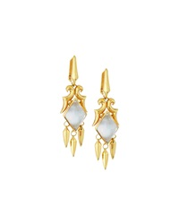 Stephen Webster 14K Gold Plated Superstud Drop Earrings W Mother Of Pearl Doublet