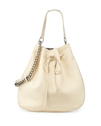 Ralph Lauren Calfskin Bucket Hobo Bag Off White