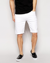 Asos Denim Shorts In Slim Fit Longer Length White