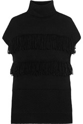 Derek Lam Fringed Cashmere Turtleneck Sweater Black