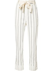 Derek Lam 10 Crosby Belted Striped Cropped Trousers White