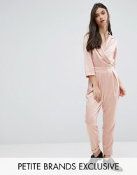 Alter Petite Plunge Neck Tailored Jumpsuit With Tie Detail Blush Pink